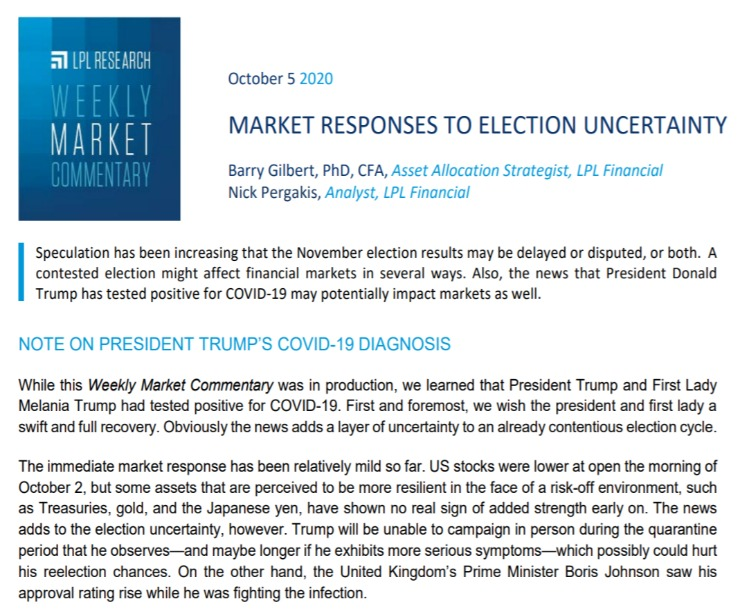Market Responses to Election Uncertainty|Weekly Market Commentary|October 5, 2020