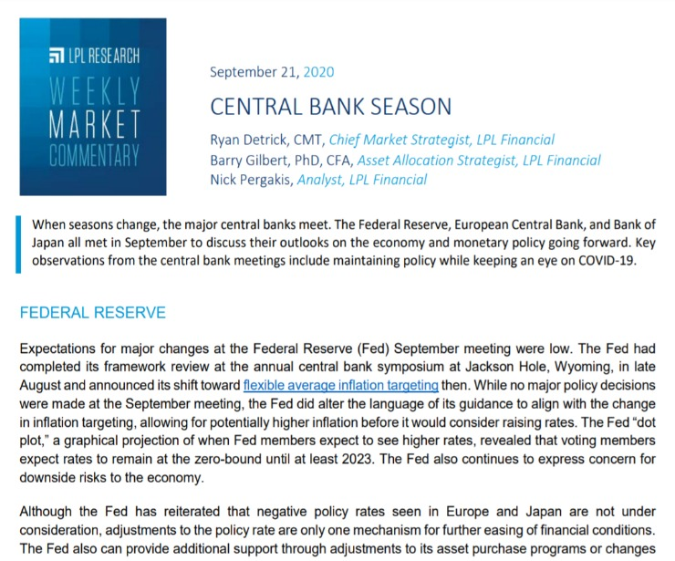 Central Bank Season | Weekly Market Commentary | September 21, 2020