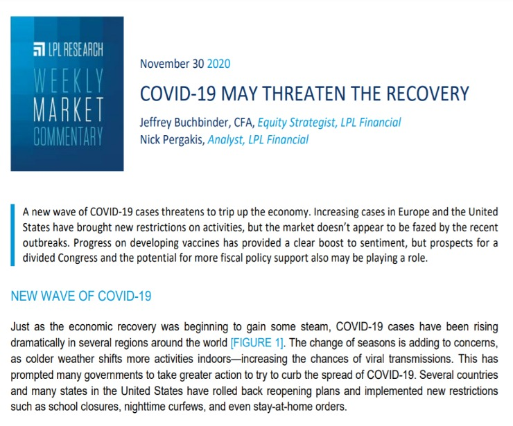 COVID-19 May Threaten the Recovery | Weekly Market Commentary | November 30, 2020