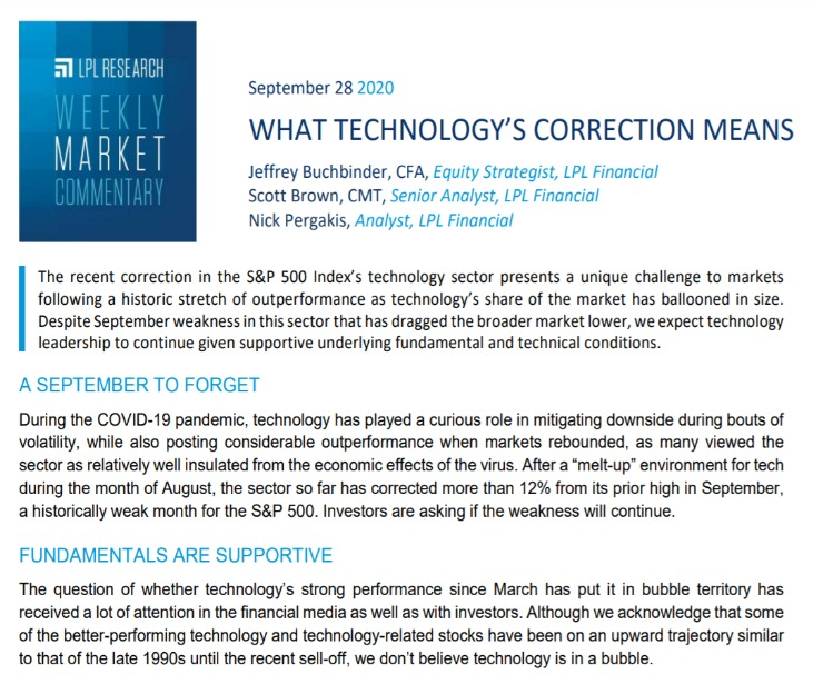What Technology's Correction Means | Weekly Market Commentary | September 28, 2020