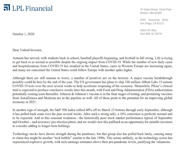 Client Letter | Signs of Strength in the Economy | October 1, 2020