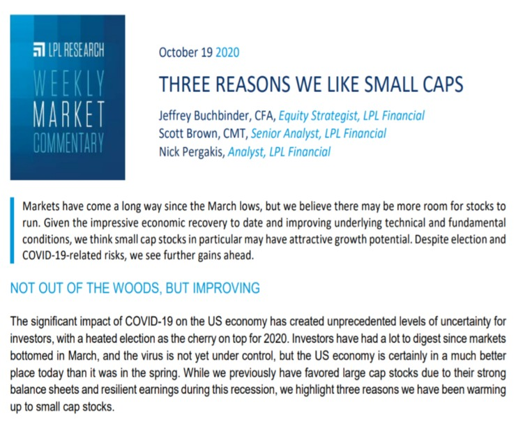 Three Reasons We Like Small Caps | Weekly Market Commentary | October 19, 2020