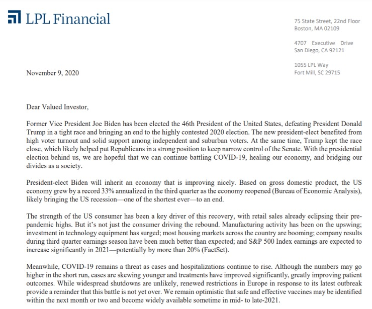 Client Letter | Election Clarity for the Markets | November 9, 2020