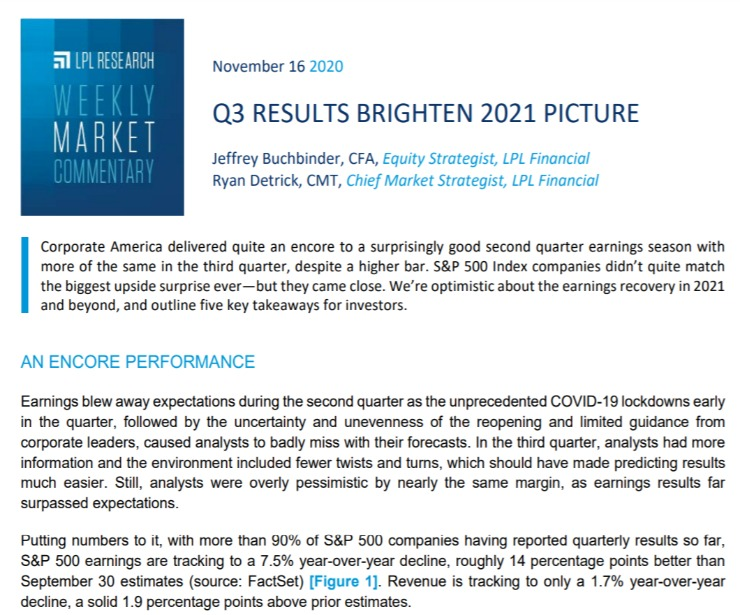 Q3 Results Brighten 2021 Picture | Weekly Market Commentary | November 16, 2020