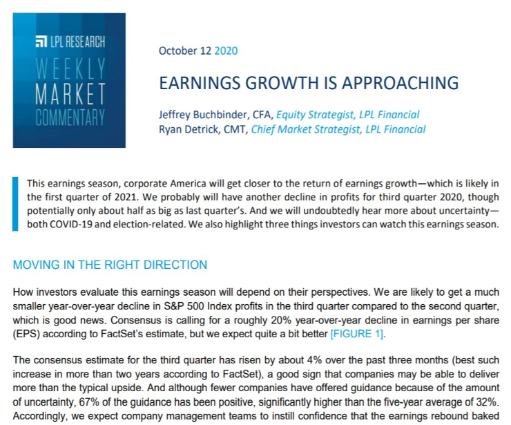 Earnings Growth is Approaching|Weekly Market Commentary|October 12, 2020