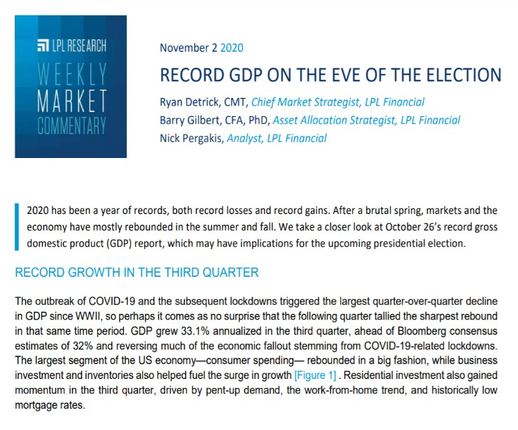 Record GDP on the Eve of the Election | Weekly Market Commentary | November 02, 2020