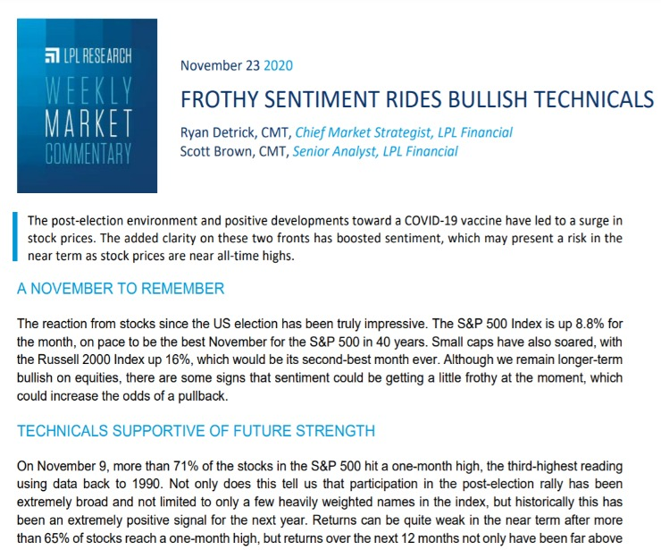 Frothy Sentiment Rides Bullish Technicals | Weekly Market Commentary | November 23, 2020