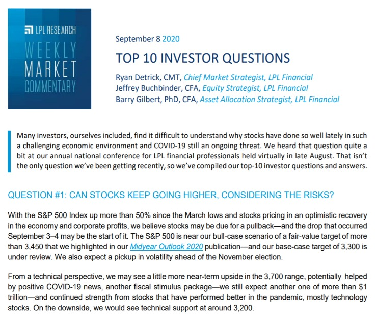 Top 10 Investor Questions   Weekly Market Commentary   September 8, 2020